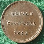 Oliver Cromwell, bronze medalet issued by The Sentimental magazine circa 1775