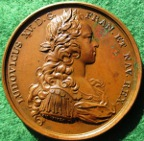 Louis XV, the Infanta enters Paris 1722, bronze medal by J Duvivier
