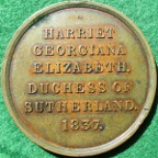 Harriet, Duchess of Sutherland 1837, Lady-in-Waiting to Queen Victoria, bronze medal