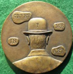 René Magritte, cast bronze art medal 1983 for the British Art Medal Society by Laurence Burt