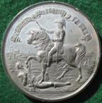 The Battle of Waterloo 1815, large white metal medal