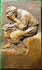 France, Prisoner of War Clothing Agency, bronze medal 1914 by Max Blondat after Jean-Louis Forain
