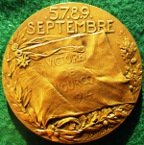 "France, General Manoury and the ""Victoire de l'Ourcq"" 1914, bronze medal by Legastelois"