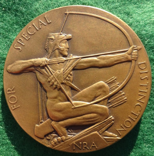 National Rifle Association, The King's Trophy Competition, For Special Distinction, bronze medal circa 1925 by Percy Metcalfe