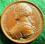 France, Louis XV, The Royal Hunt 1725, bronze medal by J Du Vivier