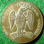 Battle of Barrosa, French Imperial Eagle captured 1811, silvered bronze medal