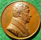 France / USA, General Lafayette, American Tour 1824, bronze medal by Francois Caunois