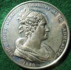 William IV & Queen Adelaide, Accession 1830, white metal medal by Thomason