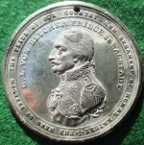 General von Blucher & The Peace of Paris 1814, white metal medal by by J Westwood for Edward Thomason