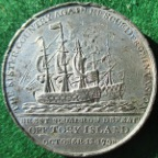 Naval Action off Tory Island 1798, white metal medal