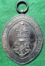 Hampshire, Secondary Schools Sports Prize, oval silver medal awarded 1936