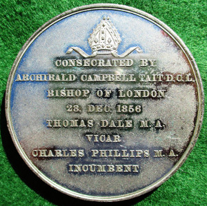 London, St Matthew's church consecrated 1856, white metal medal by T Wyon