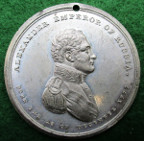 Alexander I of Russia, visit to England 1814, white metal medal by T Wyon