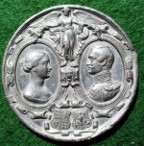 Princess Victoria and Prince Friedrich Wilhelm of Prussia, Marriage 1858, white metal  medal by Joseph Moore
