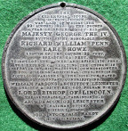 Leicester, St George's Church, foundation stone laid 1823 by Richard William Penn (Earl Howe), white metal medal