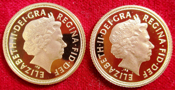 Elizabeth II, proof twin-set, comprising proof gold Half-Sovereign 2004, proof gold Half-Sovereign 2005 (new reverse)