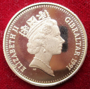 Gibraltar, Elizabeth II, gold proof 70-Ecus/50-Pounds 1991