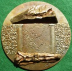 'Eastern Europe', a large cast bronze medal 1991, by Eniko Szollossy