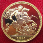 Elizabeth II, proof gold Sovereign 1981