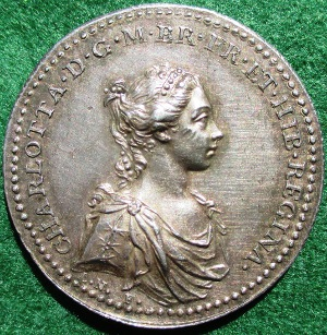 Queen Charlotte Coronation medal 1761 silver