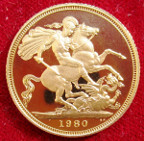 Elizabeth II, proof gold Sovereign 1980