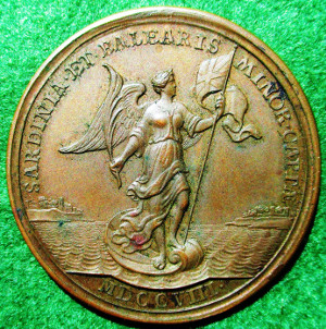 Anne, Minorca and Sardinia captured 1708, bronze medal by J Croker