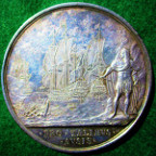 Charles II, Naval Reward and the Battle of Lowestoft 1665, large silver medal by John Roettier