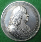 Giles Strangways imprisonment in the Tower of London 1645-1648, large silver medal by John Roettier