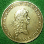 Charles II, Proposed Commercial Treaty with Spain 1666, large silver-gilt medal by John Roettier