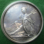 William III, The Treaty of Ryswick and The State of Britain 1697, large silver medal by J Croker