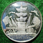 Admiral Earl Howe, death 1799, white metal medal by T Wyon