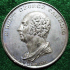 George Canning, death at Chiswick 1827,white metal medal