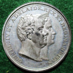 William IV & Queen Adelaide, Coronation 1831, white metal medal