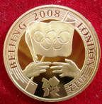 Elizabeth II, gold proof Two-Pounds 2008, for Olympic Games handover ceremony