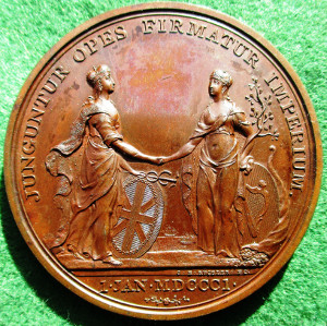 Union of Great Britain and Ireland 1801, bronze medal by Conrad Küchler