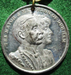Durham, Seaham Hall 1911, Marquess & Marchioness of Londonderry as Mayor and Mayoress, white metal medal