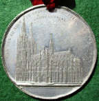 Germany, Cologne Cathedral, Building work resumed 1842, large white metal medal by J Wiener
