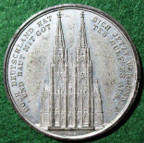 Germany, Cologne Cathedral, Building work resumed 1842, white metal medal