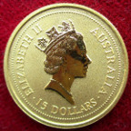 Australia, Elizabeth II, gold proof 15-Dollars 'nugget' 1998