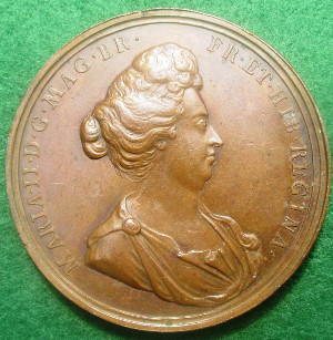 William and Mary, Mary as Regent 1690, bronze medal by J or N Roettier