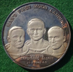 Moon Landing 1969, silver medal issued by Alec Brook Ltd during the Apollo mission