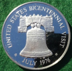 Great Britain/ USA, Elizabeth II visit to USA for American Bicentenary 1976, proof sterling silver medal