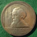 Charles Dickens, centenary of death 1970, silver-gilt medal by P Vincze