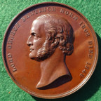 Lord George Bentinck, death 1848, bronze medal by B Wyon