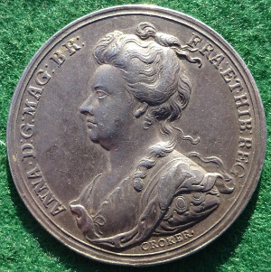 Anne, Battle of Blenheim 1704, silver medal by J Croker
