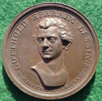 Germany, Gottfried Lessing, Poet, Philospopher and Dramatist, death 1781, bronze medal