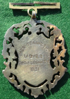 India, British India, Deccan Gymkhana, Poona City, silver-coloured openwork sports medal awarded 1931 for Ladies Single Tennis