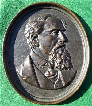 Charles Dickens portrait plaque medal