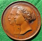 Princess Victoria & Friedrich Wilhelm of Prussia, Marriage 1858, bronze medal by L C Wyon
