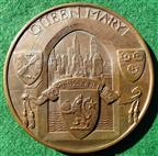 RMS Queen Mary maiden voyage 1936, bronze medal, by Gilbert Bayes